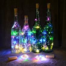 AAA226 15/20 LED Wine Bottle Cork Lights Silver Wire Battery Operated String Lights - 2M (Multicolor)