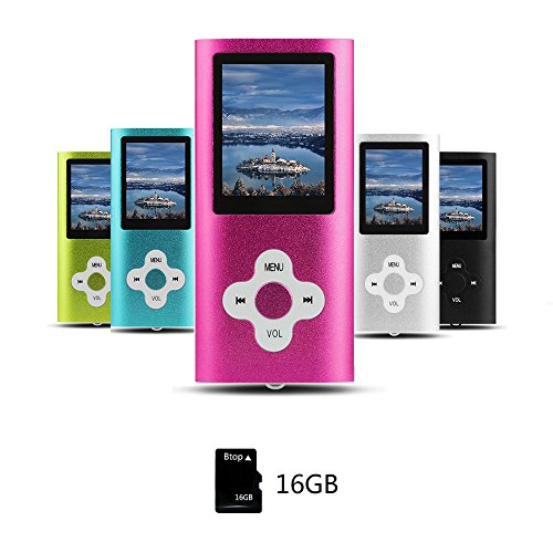 Btopllc MP3-Player, MP4 Spieler, Digital Music Player 16 GB interne Speicherkarte, Tragbarer und kompakter MP3 / MP4 Musik-Player, Media Player, Video Player, Video, Ebook, Bild Musik Spieler - Rosa