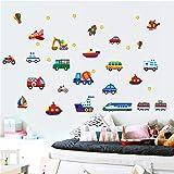 ufengke Dessin animé Divers véhicules Stickers muraux Transports DIY Amovibles...