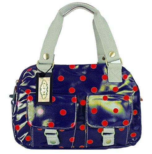 GFM pour femme Poches multiples en tissu léger de Croix Corps Sac Sac à bandoulière Messenger sac Style 1 - Polka Blue/Red