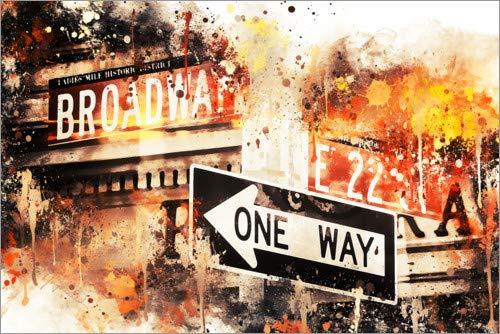 Poster 90 x 60 cm: NYC Broadway One Way von Philippe HUGONNARD - hochwertiger Kunstdruck, neues Kunstposter