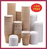 100 X 12oz / 360ml Kraft Triple Walled Disposable Paper Ripple Cups Disposable Coffee Tea Cups Disposable Hot Drink Cups + LIDS Completely Free
