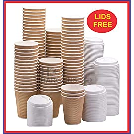 200 X 12oz / 360ml Kraft Triple Walled Disposable Paper Ripple Cups Disposable Coffee Tea Cups Disposable Hot Drink Cups + LIDS Completely Free