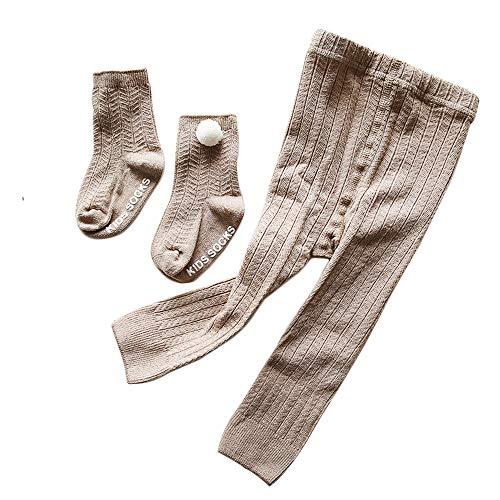 Camilife Baumwolle Strumpfhosen für Baby Kleinkind Mädchen für Frühjahr Herbst Süß Lieblich Gestrickte Leggings Socken Set - Khaki Größe 18/20 -