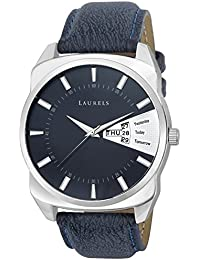 Laurels Invictus Blue Dial Day and Date Function Wrist Watch - For Men (With Additional Strap)