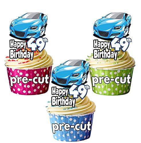 pretagliato blu auto sportiva-. ° compleanno-commestibile topper per cupcake/cake Decorations-Maglietta-uomo-Son-marito-Dad (confezione da 12)
