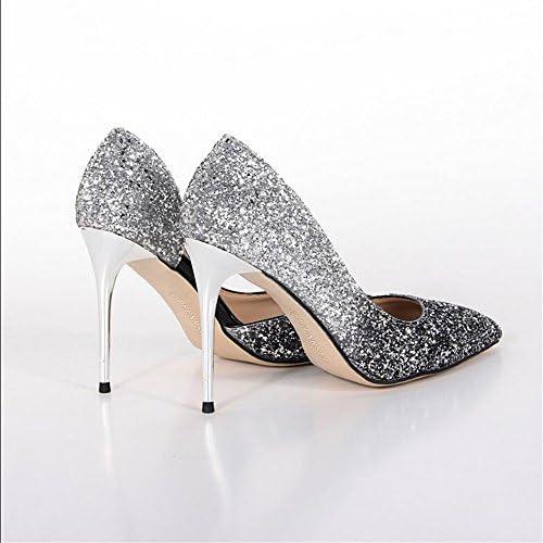Xue Qiqi Zapatos de la Corte Gradiente Chica Señaló Tacones Altos Hembra Comodín Comodín con Zapatos de Zapatos...