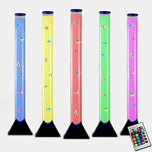 MiniSun - Lámpara de pie LED moderna y de diseño de 90cm, con mando a distancia para sus luces que cambian de color, corriente de burbujas y peces de colores