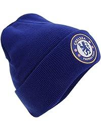 Chelsea Football Club cresta azul real con vuelta de punto Beanie sombrero Oficial