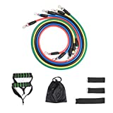 Tubi Resistenza TourKing, Cinturini elastici per esercizi - Home Gym 11 pezzi Set con 5 cinghie di allenamento / 2 maniglie di gommapiuma / 2 cinturini alla caviglia / Ancoraggio porta / sacca portaoggetti per uomo Donna Fitness per bambini