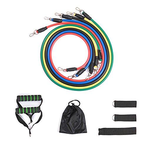 Tubos de resistencia TourKing, ejercicio de bandas elásticas - Home Gym 11pcs conjunto con 5 cinturones de entrenamiento / 2 manijas de espuma / 2 correas de tobillo / anclaje de la puerta / bolsa de almacenamiento para hombre Mujeres niños Fitness