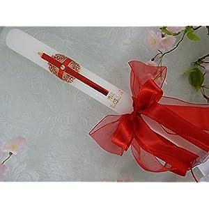 Lambada Lambatha Kerze Kreuz rot gold Junge Mädchen 400/40 mm mit Name und Datum