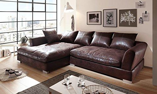 Euro Tische Big Sofa mit Modernem Stlye Stoff in Vintage Braun Ecksofa Größe 290x182cm