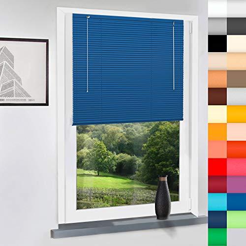 Sun World Aluminium Jalousie nach Maß, Jalousien Alu Jalousien nach maß innen Innenjalousien Maßanfertigung, für Fenster und Türen, Fenster, Klemmfix ohne Bohren (Blau, Höhe: 160cm x Breite: 45cm)
