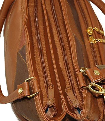 Damen Patchwork Handtasche Vintage Tasche mit zusätzlichem verlängerbaren Henkel Henkeltasche Shopper Schultertasche Umhängetasche Braun 3279 (Braun) Braun
