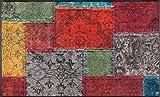 wash+dry Vintage Patches Fußmatte Acryl bunt 120 x 75 x 0.7 cm