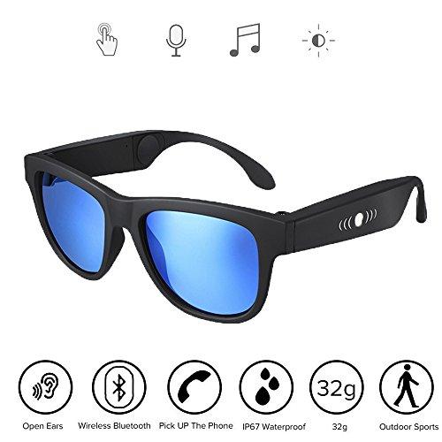 NBZH Bone Conduction Kopfhörer Gläser, Auto, Sport Polarisierte Sonnenbrille Stereo Musik Wireless Bluetooth Wasserdicht Headset Mit Mikrofon Hand-Free Kompatibel Mit IOS/Android,Blue