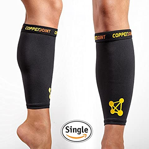 CopperJoint Calf Compression Sleeve, #1 Copper Infused Fit Support - Recovery GUARANTEED - Wear Anywhere - Single -