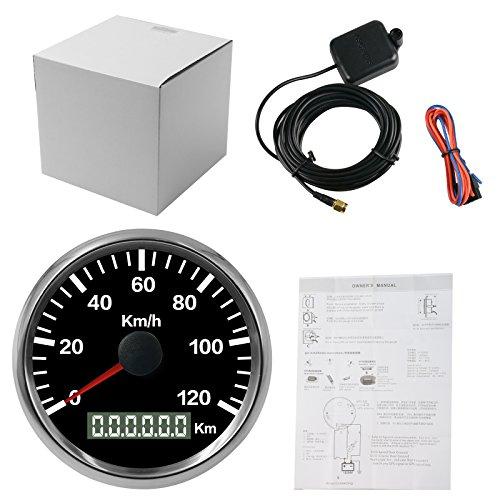 autool 85mm Wasserdicht GPS Tacho 0–120kmh Edelstahl für 12V 24V KFZ Motorrad Truck Vans Boot