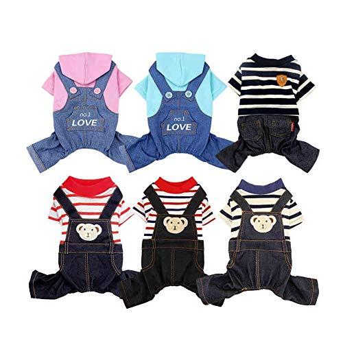 xy Hundeshirt Haustier-Kleid Kostüm Für Kleine Hunde Overall Schüler Schuluniform Streifen Dekoration Puppy Pants Denim Jeans Mit Tasche (Color : 22, Size : XL)
