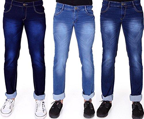 Ragzo Slim Men's Multicolor Jeans (Pack of 3) 32