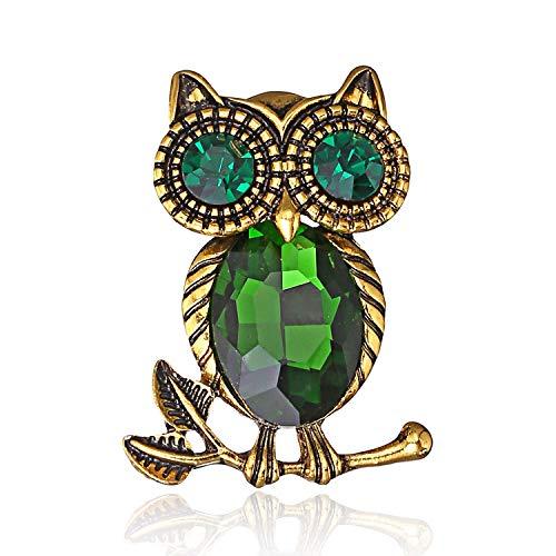 AILUOR Damen Netter Schwarz Augen Eule Brosche, Elegante Weinleserhinestone-Kristall-Perlen Emaille-Goldtier Ehrennadel Corsage grün Einstellbar