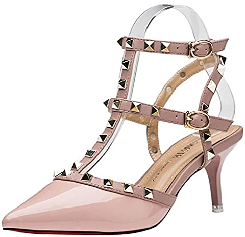 Lady Women Sexy Metal Studs Pointed Toe Low Mid Heels Club Party Office Work Stiletto Shoes(3 UK,