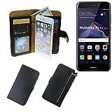 K-S-Trade Für Huawei P8 Lite 2017 Dual SIM Schutz Hülle Portemonnaie Case Phone Cover Slim Klapphülle Handytasche Schutzhülle Handyhülle schwarz aus Kunstleder (1 STK)