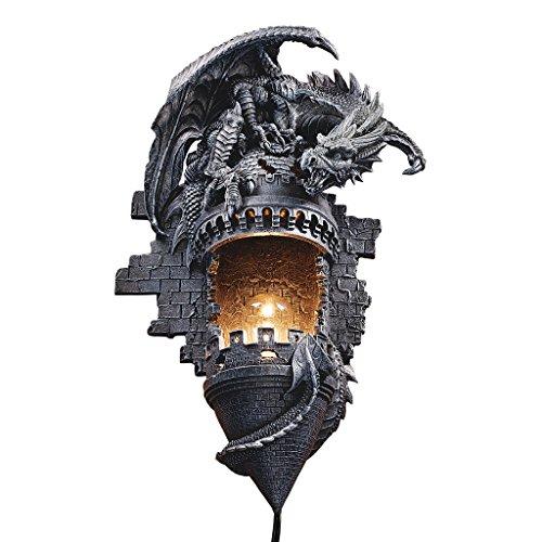 Design Toscano Schlossburg des Drachens Elektrische Wandlichtanbringung, Polyresin, Steingrau, 38 cm