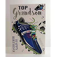Jonny Javelin to A Top Grandson Happy Birthday Card - Football Boot
