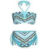 iiniim Mädchen Tankini Zweiteiler Neckholder Bademode+Briefs Bikini Set Badeanzug Beachwear Swimwear Gr.92-128 Himmel Blau 122-128/7-8 Jahre