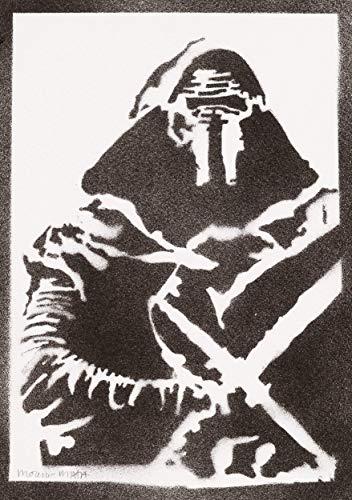 Kylo Ren STAR WARS Poster Plakat Handmade Graffiti Street Art - Artwork (Schwarz Adam Kostüm)