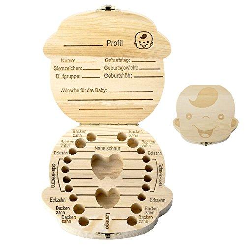 Mogoko Deutsch Version baby Kinder Original Holz Haar Milchzahndose Milchzähne Zähne box Kasten Souvenir Aufbewahrungsbox (Junge)