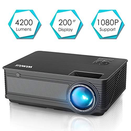 Beamer, WiMiUS 4200 Lumen Videoprojektor 1280*800 Pixel, Full HD 1080P unterstützt Heimkino Projektor, HDMI VGA AV TF USB Kompatibel mit Amazon Fire TV Stick / Laptop / Mobil usw.