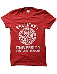 Gallifrey University Time Lord (White On Red) Mens Tshirt