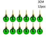 Boule de Noel 12Pcs 30mm, Koly Noel Decoration Table Sapin Boule Plastique a Suspendre Décoration d'arbre de Noël Cadeau Christmas Party Ornament (Vert)