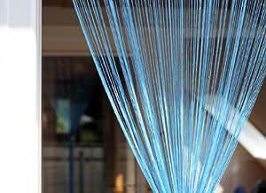 1001 Wohntraum F01 Rideau de fils Bleu clair brillant 100 x 200 cm