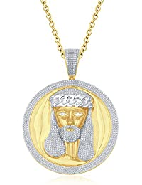 "Silvernshine Men's 1.40 Ct Round D/VVS1 Diamond Jesus Face Pendant 18"" Chain In 14K Yellow Gold Fn"