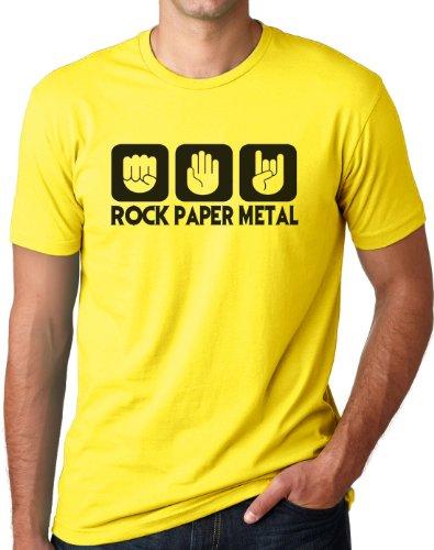 OM3 - ROCK PAPER METAL - T-Shirt STEIN PAPIER SCHERE HARDROCK HEAVY, S - 5XL Gelb