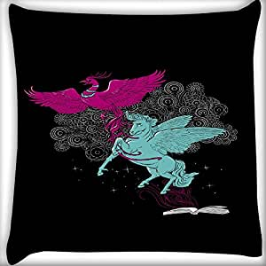 Snoogg Flying Bird And Horse 18 X 18 Inch Throw Pillow Case Sham Pattern Zipper Pillowslip Pillowcase For Drawing Room Sofa Couch Chair Back Seat