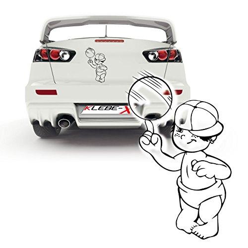 Junge jongliert mit Ball als Autoaufkleber Sticker Heckscheibe Babymotive | P011