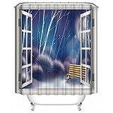 Aawang Duschvorhang Polyester 3D Vorhang Waschbarer Badewannenvorhang Badezimmer Dekorative Fenster Ansicht, Traum 150(H)*200(W) cm