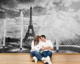 selbstklebende Fototapete - Eiffelturm im Retrostyle - Paris Frankreich - schwarz weiss - 230x150 cm - Tapete mit Kleber – Wandtapete – Poster – Dekoration – Wandbild – Wandposter – Wand – Fotofolie – Bild – Wandbilder - Wanddeko