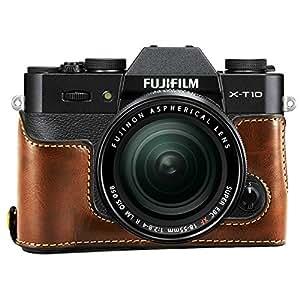 First2savvv XJPT-XT10-D10 brun foncé cuir étui housse appareil photo numérique pour Fuji Fujifilm X-T20 XT20 X-T10 XT10