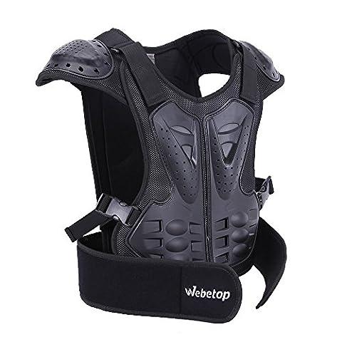 Webetop Kids Dirt Bike Body Chest Spine Protector Armor Vest Protective Gear for Dirtbike Bike Motocross Skiing Snowboarding Black(M for height