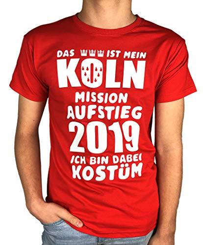 Artdiktat Herren T-Shirt | Das ist Mein Köln Mission Aufstieg 2019 | Ich Bin Dabei Kostüm | Fasching Karneval Fussball Größe XL, rot (Ich Liebe Bier Kostüm)
