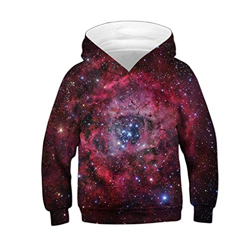 Amphia - Kinder Sweatshirt - Große Größe Sport Baseball - Hemd grundiert - Teen Kids Mädchen Jungen Galaxy Fleece Print Cartoon Sweatshirt Tasche Pullover Hoodie(Hot Pink,L) - Baseball-fleece-sweatshirt
