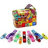 Homiki 90 Piezas de Clips Coloridos Plásticos Clips Multiusos para Costura Arte Manual con Caja 15 Grandes 75 Chicos
