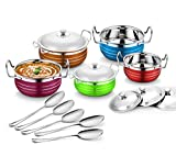 #8: Classic Essentials Stainless Steel Handi Set, 10-Pieces, Multicolour