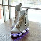 Damen hohe obere LED-Licht martin Stiefel Mode PU-Plattform Schuhe sieben Farben ändern und elf Arten von blinkenden Modus , White , 38